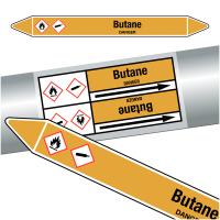 "Marqueurs de tuyauteries CLP ""Butane"" (Gaz)"