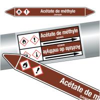 """Marqueurs de tuyauteries CLP """"Acétate de méthyle"""" (Liquides inflammables)"""