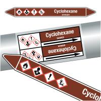 "Marqueurs de tuyauteries CLP ""Cyclohexane"" (Liquides inflammables)"