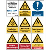 Etiquettes en planche pour installations photovoltaïques
