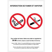 Panneaux et autocollants duos avec décrets - INTERDICTION DE FUMER ET VAPOTER