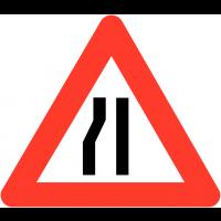 """Panneaux de circulation """"Chaussée rétrécie par la gauche"""""""