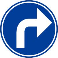 """Panneaux de circulation """"Direction obligatoire à la prochaine intersection: à droite"""""""