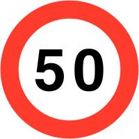 """Panneaux de circulation """"Vitesse limitée - 50"""""""