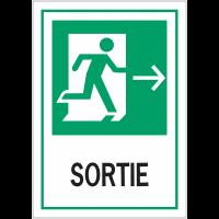 """Panneaux d'évacuation A4 et A3 """"Homme qui court, flèche à droite - Sortie"""""""