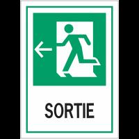 """Panneaux d'évacuation A4 et A3 """"Homme qui court, flèche à gauche - Sortie"""""""