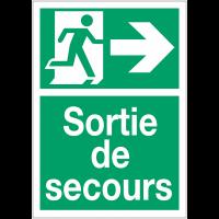 """Panneaux d'évacuation A4 et A3 """"Homme qui court, flèche à droite - Sortie de secours"""""""