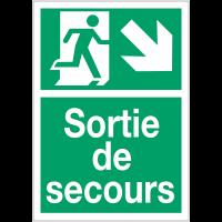 """Panneaux d'évacuation A4 et A3 """"Homme qui descend, flèche à droite"""""""