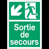 """Panneaux d'évacuation A4 et A3 """"Homme qui descend, flèche à gauche"""""""