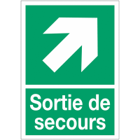 """Panneaux d'évacuation A4 et A3 """"Flèche diagonale en haut à droite"""""""