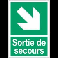 """Panneaux d'évacuation A4 """"Flèche diagonale en bas à droite"""""""