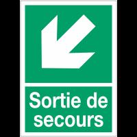 """Panneaux d'évacuation A4 """"Flèche diagonale en bas à gauche"""""""