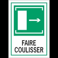 """Panneaux d'évacuation A4 """"Faire coulisser, flèche à droite"""""""