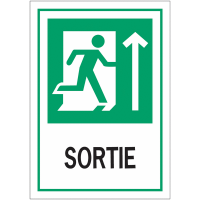"""Panneaux d'évacuation """"Homme qui court, flèche en haut - Sortie"""""""