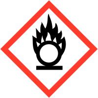 """Etiquettes de produits dangereux sur carte """"Matières comburantes"""""""