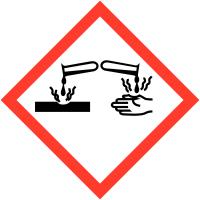 """Etiquettes de produits dangereux sur carte """"Matières corrosives"""""""