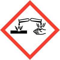 Autocollants CLP haute résistance à l'unité Matières corrosives - GHS05