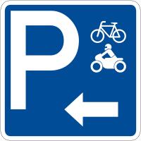 """Panneau de signalisation """"Parking vélos motos flèche à gauche"""" rétro-réfléchissant"""