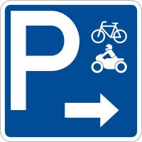 """Panneau de signalisation """"Parking vélos motos flèche à droite"""" rétro-réfléchissant"""