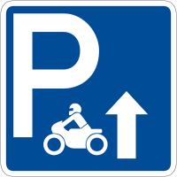 """Panneau de signalisation """"Parking motos flèche en haut"""" rétro-réfléchissant"""