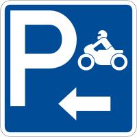 """Panneau de signalisation """"Parking motos flèche à gauche"""" rétro-réfléchissant"""