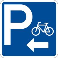 """Panneau de signalisation """"Parking vélos flèche à gauche"""" rétro-réfléchissant"""
