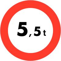 "Panneaux de circulation ""Circulation interdite - 5,5t"""