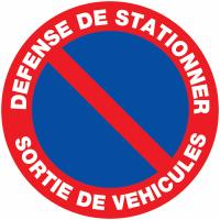 """Panneaux de circulation routière """"Stationnement interdit - Défense de stationner sortie de véhicules"""""""