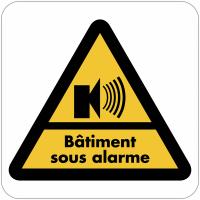 """Autocollant dissuasif en vinyle """"Bâtiment sous alarme"""""""