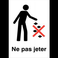 """Panneaux d'information du public """"Ne pas jeter les déchets au sol"""""""