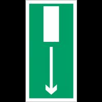 """Panneaux d'évacuation haute résistance """"Issue de secours, flèche en bas"""""""