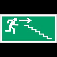 """Panneaux d'évacuation haute résistance """"Homme qui descend l'escalier, flèche à droite"""""""