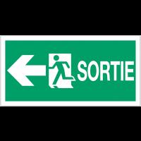 """Panneaux d'évacuation fléché haute résistance """"Sortie de secours (à gauche)"""" avec texte"""