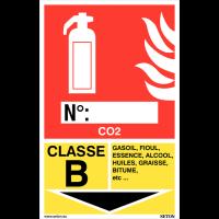 Panneaux d'identification extincteurs - CO2, classe B
