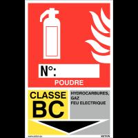 Panneaux d'identification extincteurs - Poudre, classe BC