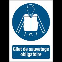 """Panneaux de signalisation autour des quais """"Port du gilet de sauvetage obligatoire"""""""