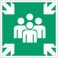 """Panneaux d'évacuation et de secours """"Point de rassemblement après évacuation"""""""