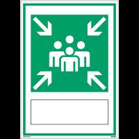 """Panneaux d'évacuation A4 et A3 à compléter """"Point de rassemblement après évacuation"""""""
