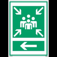 """Panneaux d'évacuation A3 et A4 """"Point de rassemblement après évacuation"""" avec flèche à gauche"""
