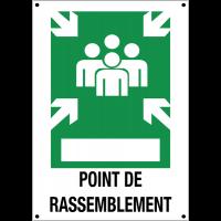 """Panneaux en aluminium à compléter """"Point de rassemblement après évacuation"""" avec texte"""