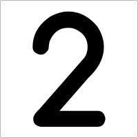 """Plaques signalétiques colorées adhésives """"Chiffre 2"""""""