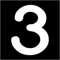 """Plaques signalétiques colorées adhésives """"Chiffre 3"""""""