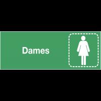 """Plaques signalétiques colorées adhésives """"Toilettes femme"""" avec texte"""