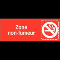 """Plaques signalétiques colorées adhésives """"Interdiction de fumer"""" avec texte"""