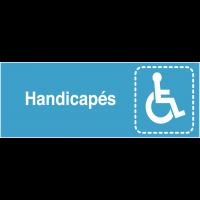 """Plaques signalétiques colorées adhésives """"Handicapés"""" avec texte"""