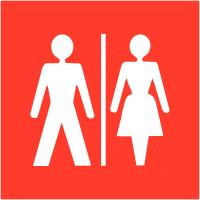 """Signalétique d'information murale ou en drapeau """"Toilettes homme et femme"""""""
