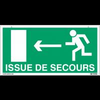 """Panneaux suspendus d'évacuation """"homme qui court, flèche à gauche et à droite - Issue de secours"""""""