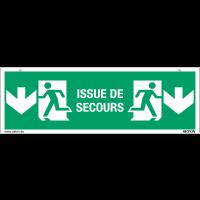 """Panneaux suspendus d'évacuation """"Homme qui court, flèche en bas - Issue de secours"""""""