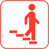 """Autocollants d'information transparents """"Escaliers à droite"""""""