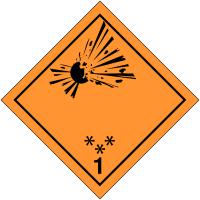 "Signalisation de transport international ""Matières et objets explosifs"""